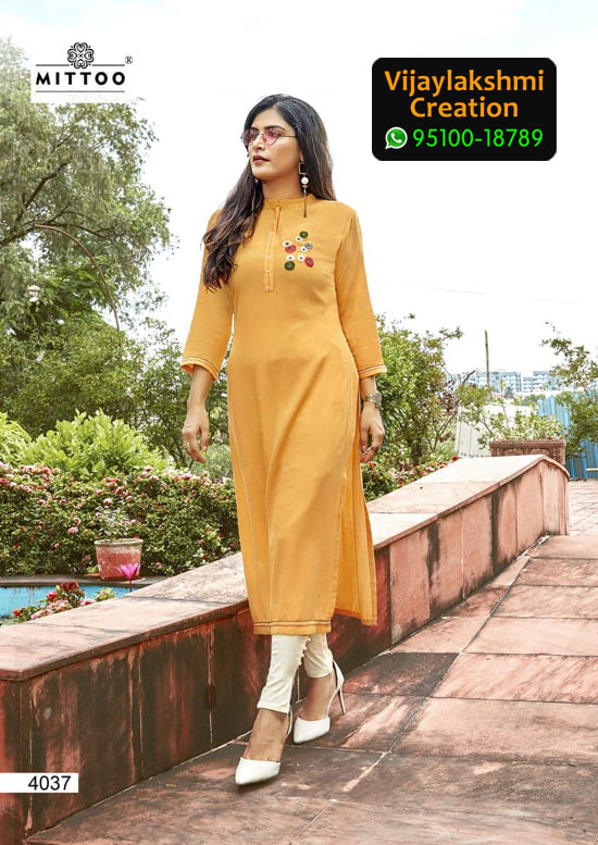 Mittoo Mohini Vol 2 Design No 4037 Rayon Kurti in Singles and Full Catalogue