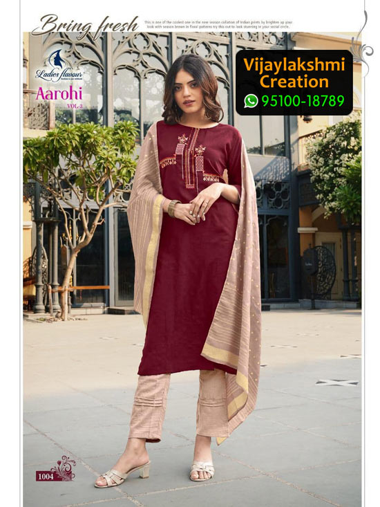 Ladies Flavour Aarohi Vol 3 Design No 1004 Chinon Lining in Single