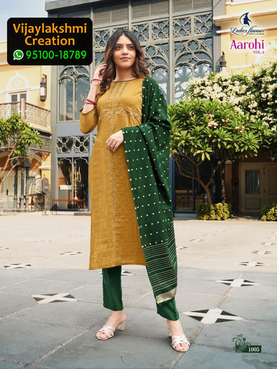 Ladies Flavour Aarohi Vol 3 Design No 1005 Chinon Lining in Single