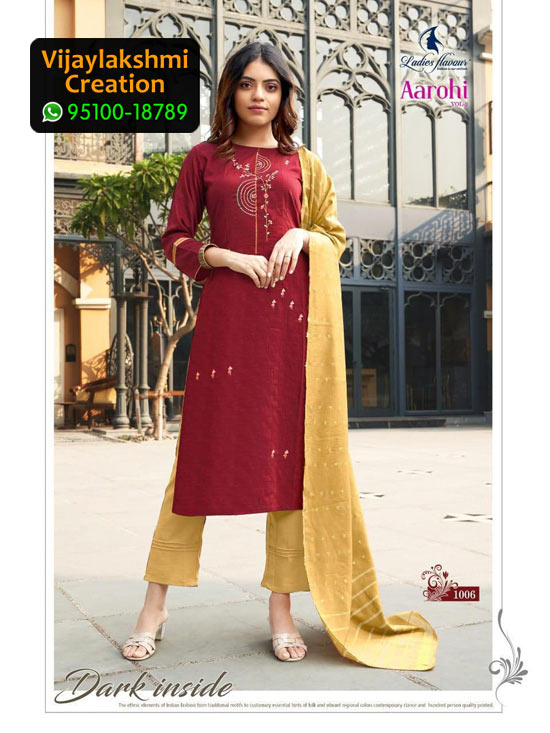 Ladies Flavour Aarohi Vol 3 Design No 1006 Chinon Lining in Single