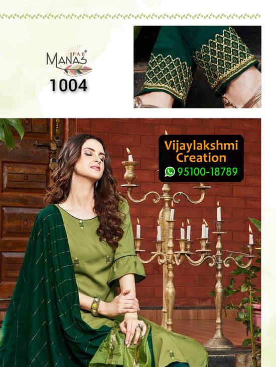 Manas Fab Delight Design No 1004 Chinon Silk Kurti in Singles