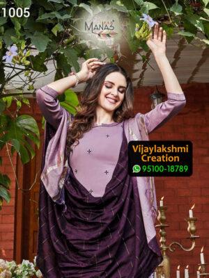 Manas Fab Delight Design No 1005 Chinon Silk Kurti in Singles