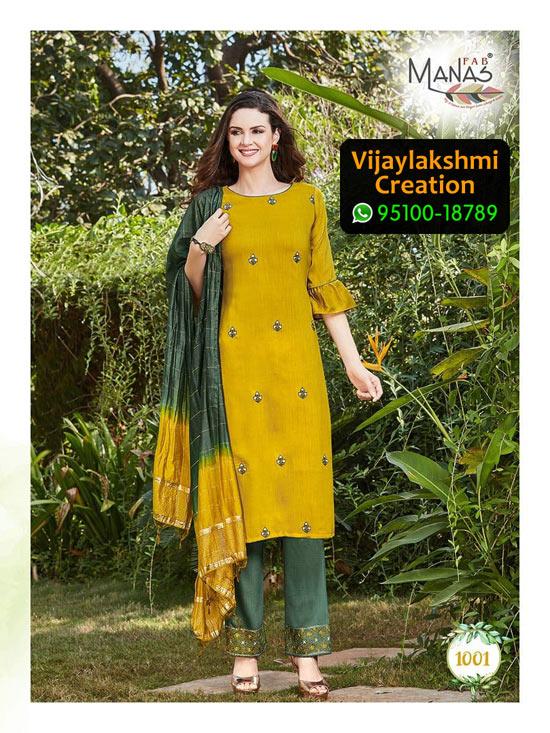 Manas Fab Delight Design No 1001 Chinon Silk Kurti in Singles