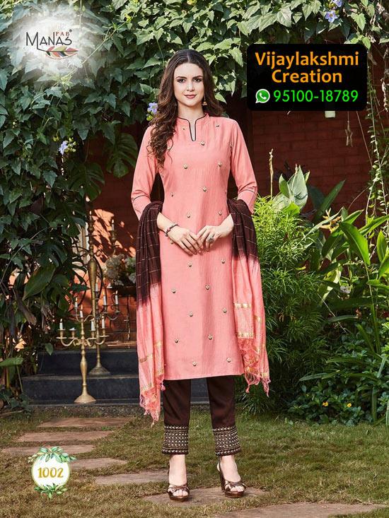 Manas Fab Delight Design No 1002 Chinon Silk Kurti in Singles