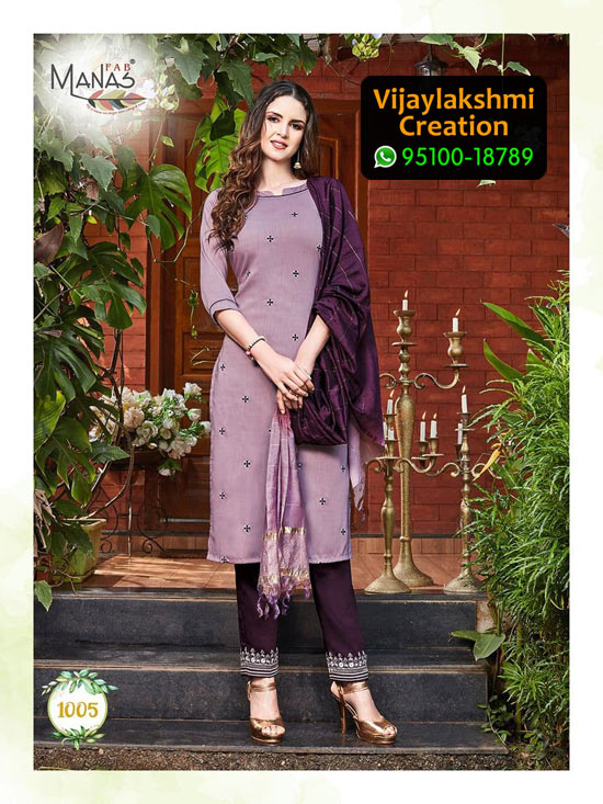 Manas Fab Delight Chinon Silk Kurti Design No 1005 in Singles
