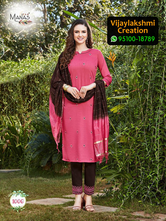Manas Fab Delight Design No 1006 Chinon Silk Kurti in Singles