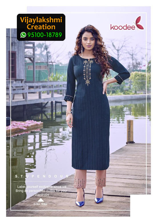 Koodee Mahi 3 Design No 9062 Rayon Fancy Kurti in Singles and Full Catalogue