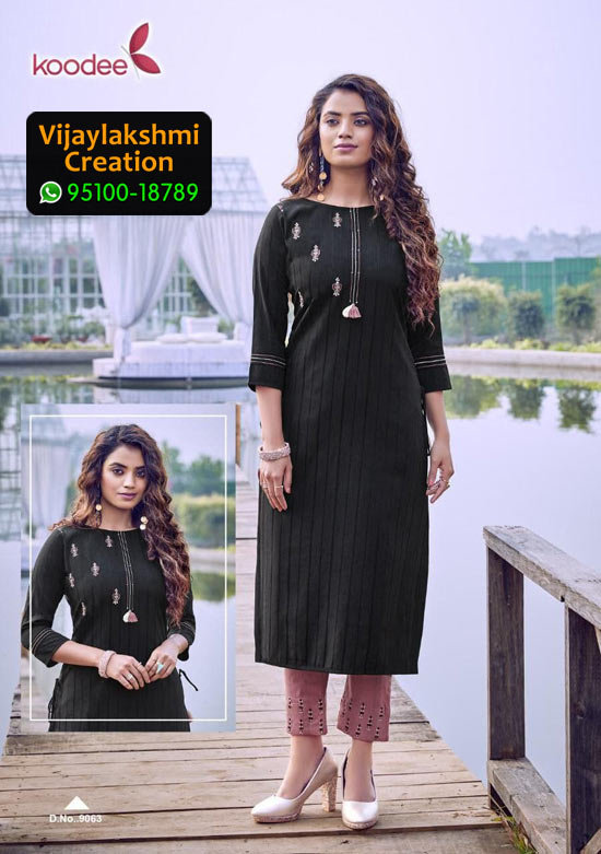 Koodee Mahi 3 Design No 9063 Rayon Fancy Kurti in Singles and Full Catalogue