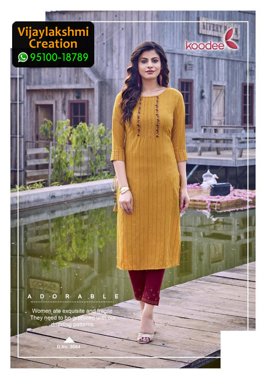 Koodee Mahi 3 Design No 9064 Rayon Fancy Kurti in Singles and Full Catalogue