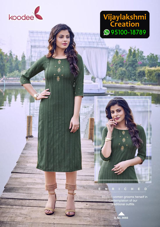 Koodee Mahi 3 Design No 9066 Rayon Fancy Kurti in Singles and Full Catalogue