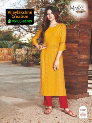 Manas 9001 Rayon Embroidery Kurti in Single Piece and Full Catalogue, Catalogue Name Sequence