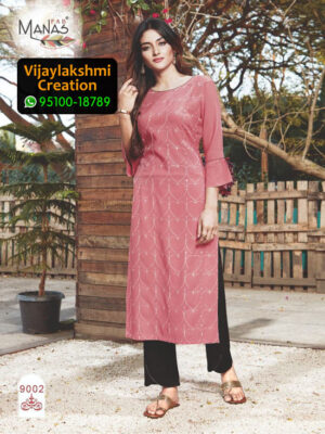 Manas 9002 Rayon Embroidery Kurti in Single Piece and Full Catalogue, Catalogue Name Sequence