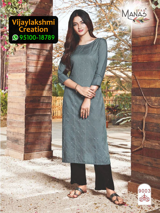 Manas 9003 Rayon Embroidery Kurti in Single Piece and Full Catalogue, Catalogue Name Sequence