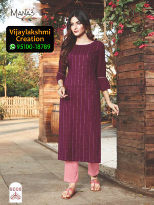 Manas 9008 Rayon Embroidery Kurti in Single Piece and Full Catalogue, Catalogue Name Sequence