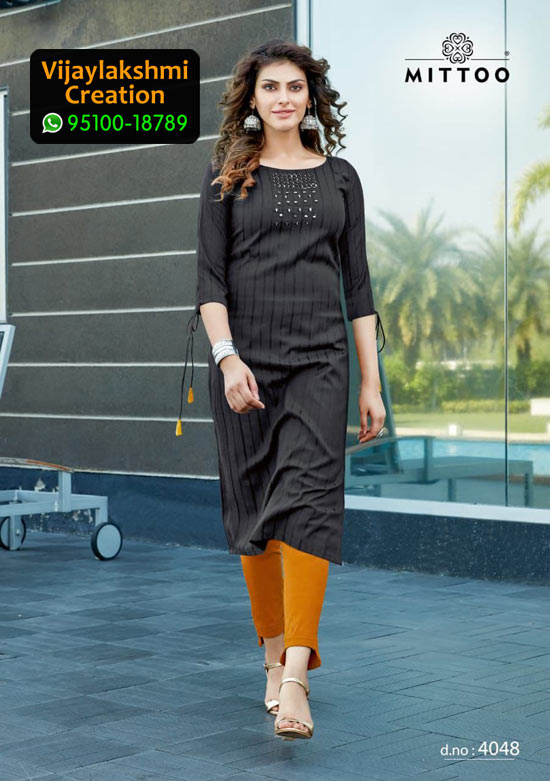 Mittoo Mohini Vol 4 Design No 4048 Rayon Kurti in Singles and Full Catalogue