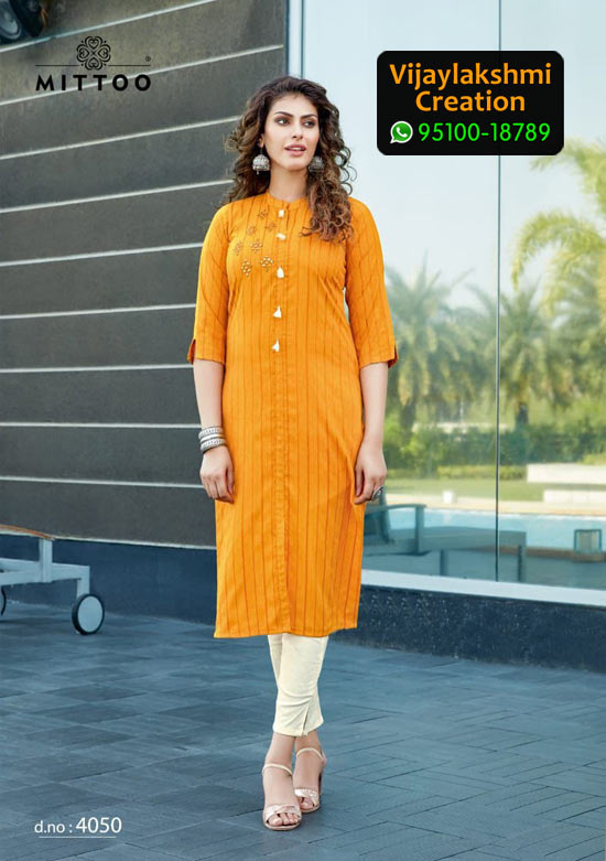 Mittoo Mohini Vol 4 Design No 4050 Rayon Kurti in Singles and Full Catalogue