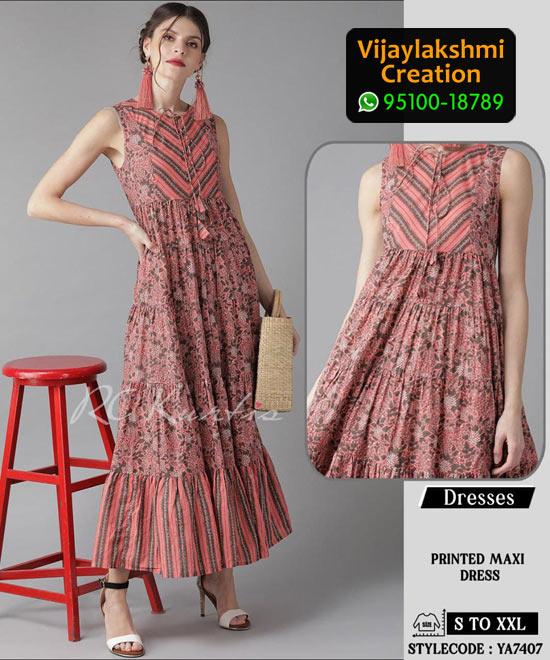 RC Kurtis YA7407 Printed Maxi Dress in Single and Full Catalogue