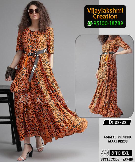 RC Kurtis YA7418 Printed Maxi Dress in Single and Full Catalogue