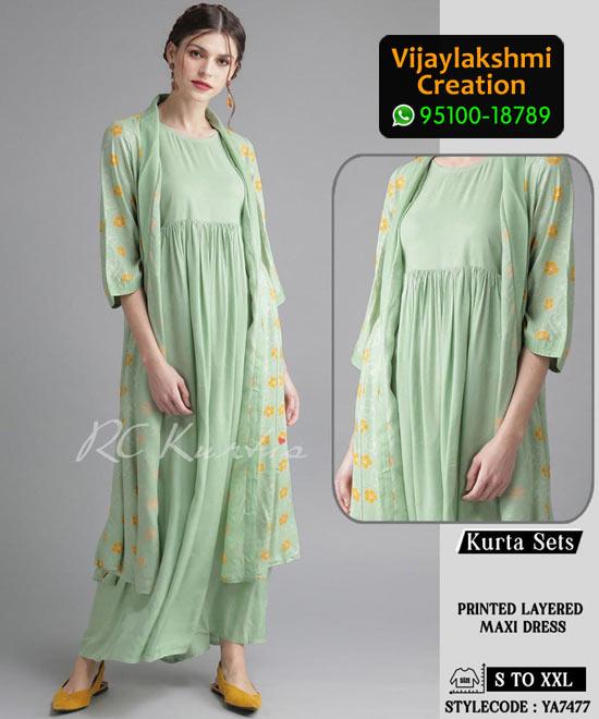 RC Kurtis YA7477 Printed Maxi Dress in Single and Full Catalogue
