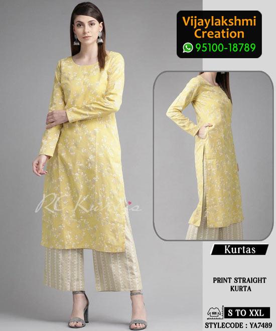 RC Kurtis YA7489 Printed Maxi Dress in Single and Full Catalogue