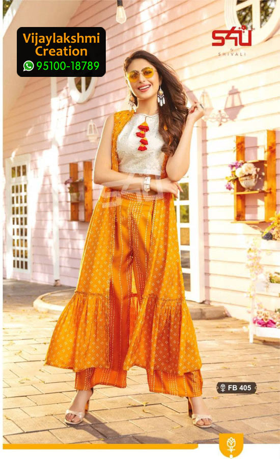 S4U Fusion Beats Vol 4 Design No FB 405 Rayon Kurti in Singles and Full Catalogue
