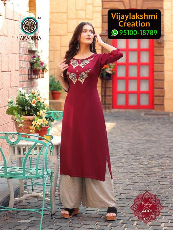 Aradhna 4001 Rayon Kurti with Palazo Fashion Girl Volume 4 in Single Piece