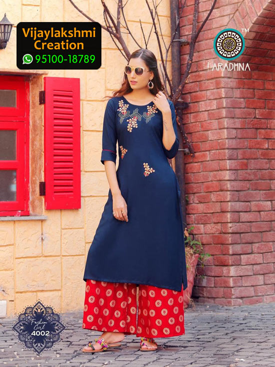 Aradhna 4002 Rayon Kurti with Palazo Fashion Girl Volume 4 in Single Piece