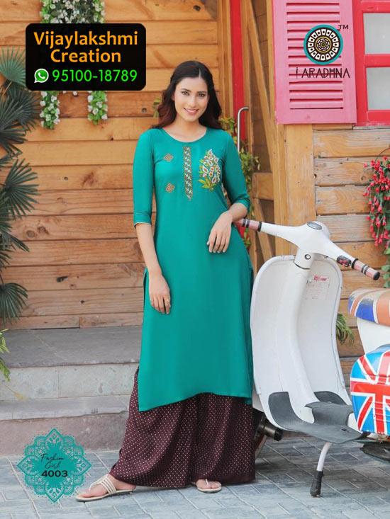 Aradhna 4003 Rayon Kurti with Palazo Fashion Girl Volume 4 in Single Piece