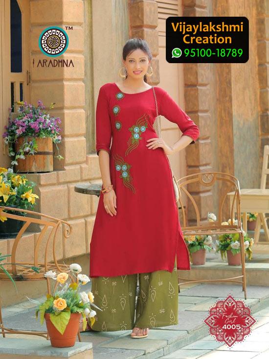 Aradhna 4005 Rayon Kurti with Palazo Fashion Girl Volume 4 in Single Piece