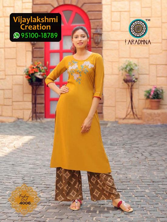 Aradhna 4006 Rayon Kurti with Palazo Fashion Girl Volume 4 in Single Piece
