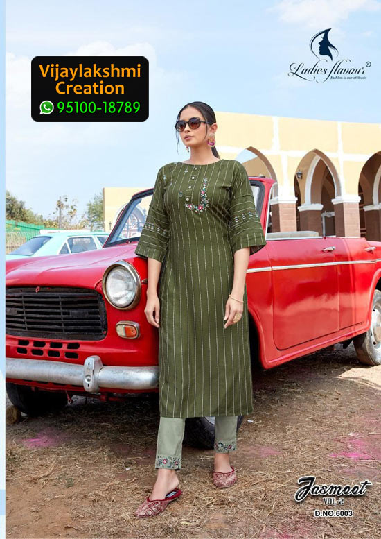 Ladies Flavour 6003 Jasmeet Vol 2 Rayon Kurti in Single Piece