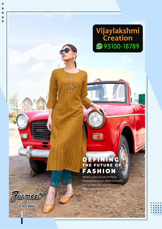 Ladies Flavour 6005 Jasmeet Vol 2 Rayon Kurti in Single Piece