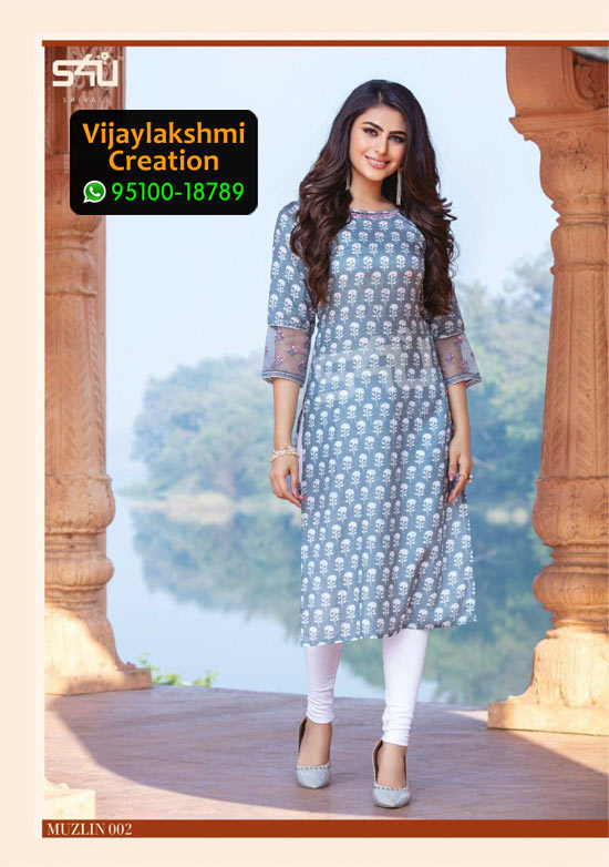 S4U 002 Muzlin Muslin Kurti with Top and Buttom in Single Piece