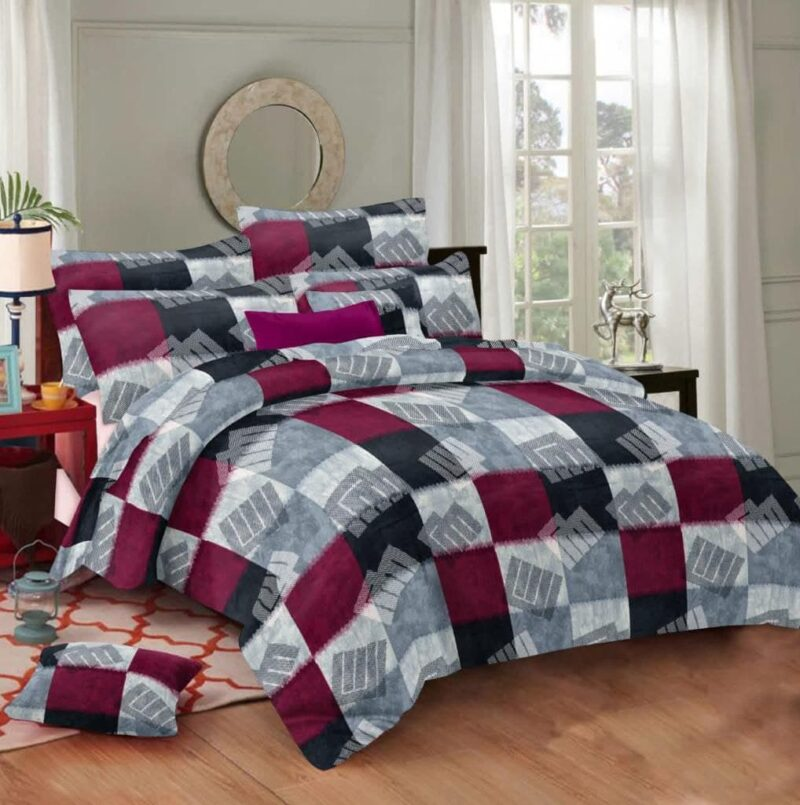 Procion Cotton Grey color king Size Bedsheet with two Pillow Covers