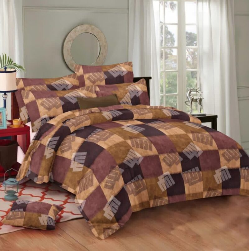 Procion Cotton Brown color king Size Bedsheet with two Pillow Covers