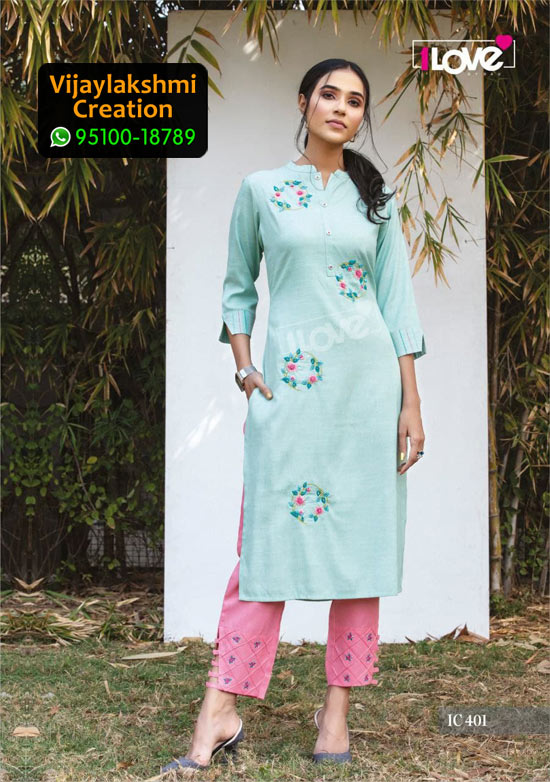 1Love IC 401 Rayon Kurti in Single Piece, Catalog name S4U Indi Chic Vol 4