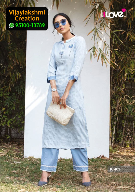 1Love IC 403 Rayon Kurti in Single Piece, Catalog name S4U Indi Chic Vol 4
