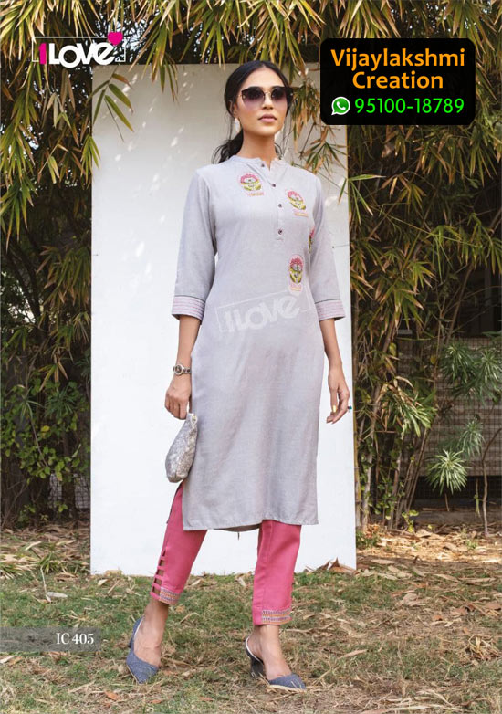 1Love IC 405 Rayon Kurti in Single Piece, Catalog name S4U Indi Chic Vol 4