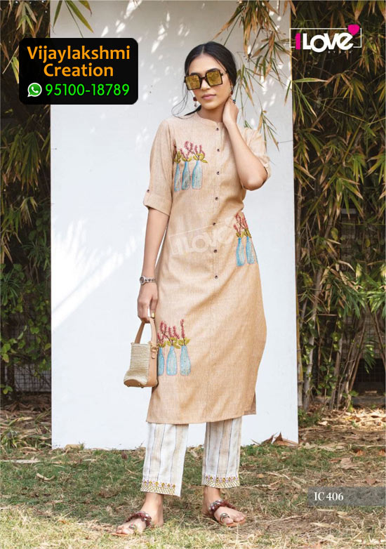1Love IC 406 Rayon Kurti in Single Piece, Catalog name S4U Indi Chic Vol 4