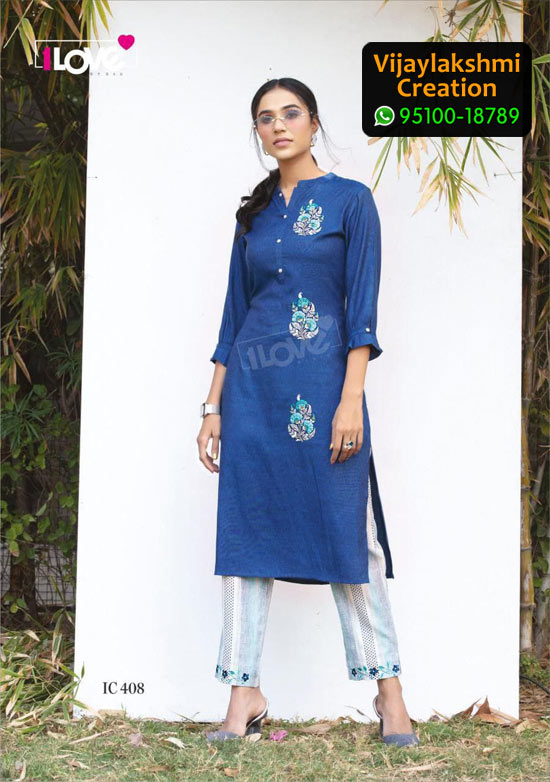 1Love IC 408 Rayon Kurti in Single Piece, Catalog name S4U Indi Chic Vol 4
