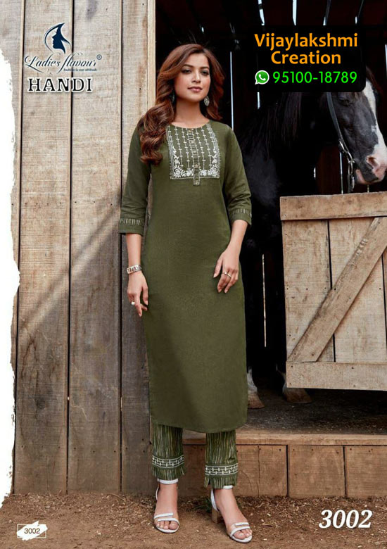 Handi 3002 Cotton Kurti with Top & Bottom in Single Piece, Catalog Name Ladies Flavour