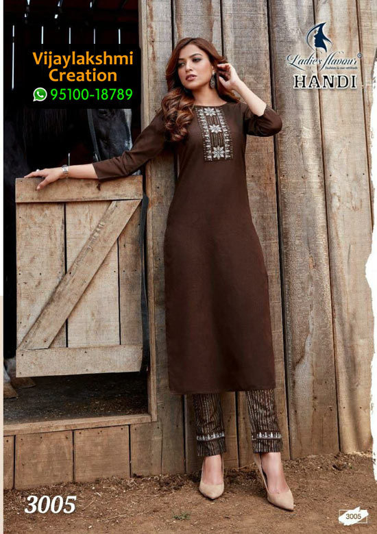 Handi 3005 Cotton Kurti with Top & Bottom in Single Piece, Catalog Name Ladies Flavour