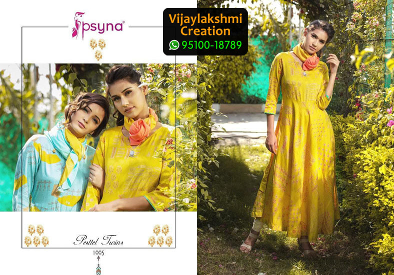 Psyna 1005 Cotton Satin Kurti in Single Piece, Catalogue Name Pesttel Twins