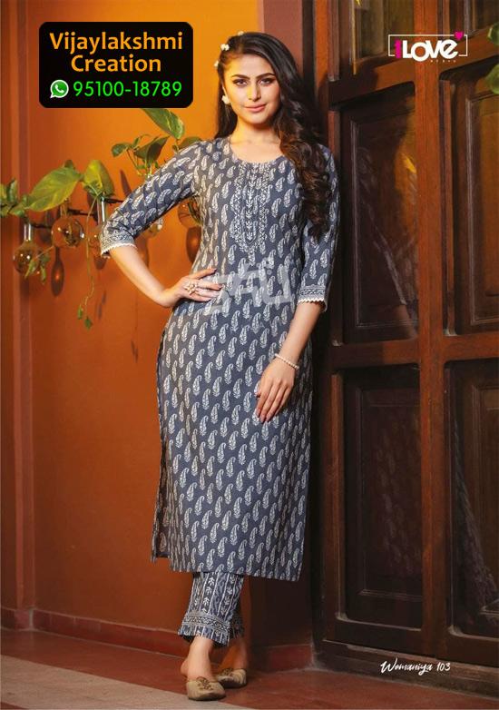 1love by S4U Womaniya 103 Kurti with Cotton Fabric in Single Piece