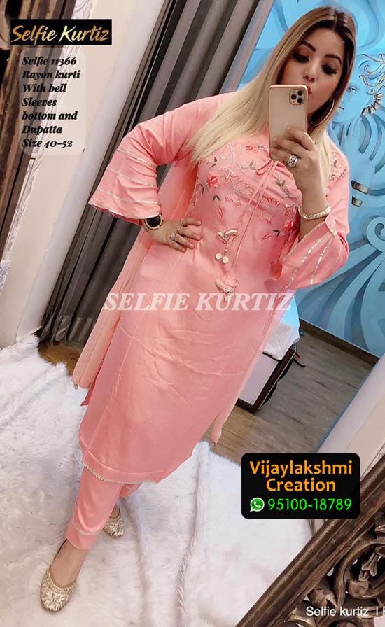 Selfie Kurtiz Selfie 11366 Rayon Kurti with bottom and dupatta in Single Piece