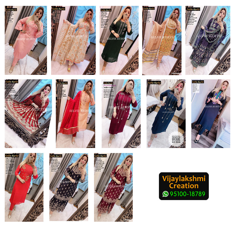 Selfie Kurtiz Kurti with Pure Silk, Maslin, Rayon, Cotton Fabric in Single Piece
