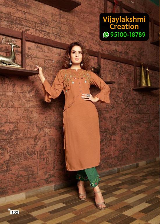 Vivils Colours D no 102 Pure Milange Cotton Kurti with Cotton Pants in Single Piece