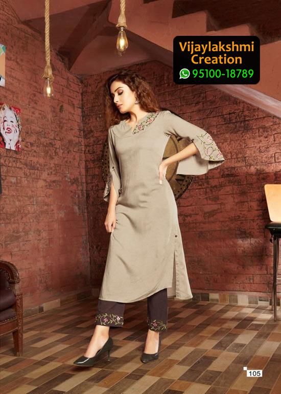 Vivils Colours D no 105 Pure Milange Cotton Kurti with Cotton Pants in Single Piece