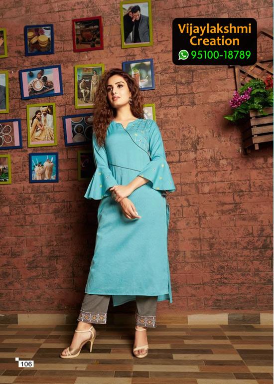 Vivils Colours D no 106 Pure Milange Cotton Kurti with Cotton Pants in Single Piece