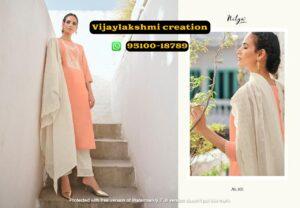 nitya gulshan 105 peachy pink cotton kurti set